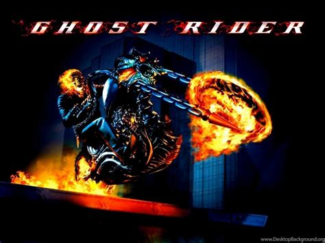 Ghost Rider On Flaming Motorcycle Movie Poster Desktop