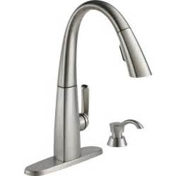 kitchen faucet shop delta arc spotshield stainless 1 handle pull deck mount kitchen faucet at lowes com