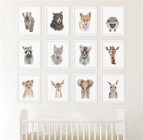 animal decor set of 12 prints animal collection nursery home