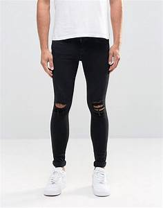 Dr. denim Dixy Extreme Super Skinny Jeans Black Ripped ...
