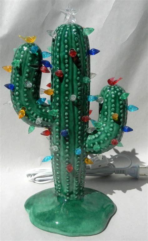 medium christmas cactus glossy green lighted ceramic