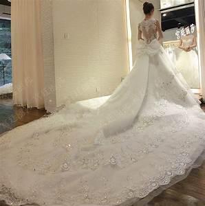 Super long train wedding dresses 2016 luxury lace ball for Wedding dresses with long train