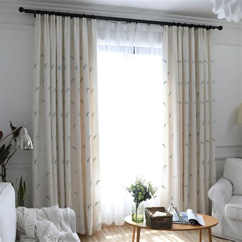 modern elegant beige feathers embroidery living room curtains