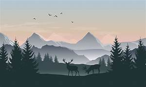 vector landscape with silhouettes of mountains trees and
