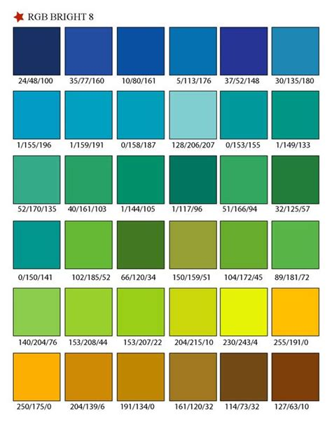 printable rgb color palette swatches color matching