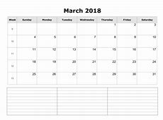 Printable monthly calendar 2018 march month with notes