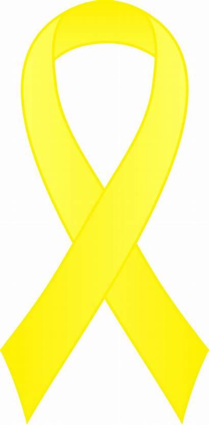 Ribbon Yellow Awareness Clipart Clip Ribbons Cancer