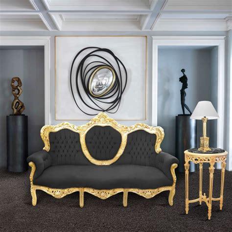 canap velours baroque canapé baroque tissu velours noir et bois doré