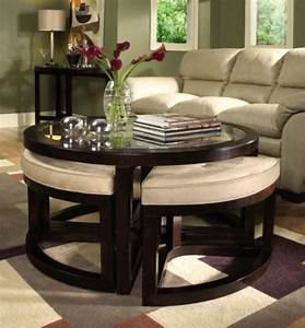 ottoman round table for small spaces With circle coffee table with seats