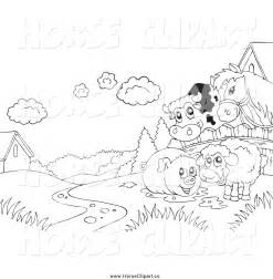 Black and White Farm Clip Art
