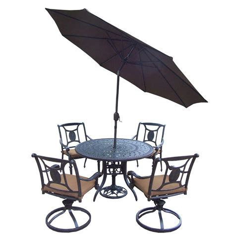 7 Patio Dining Set With Umbrella by Oakland Living Cast Aluminum 7 Patio Dining