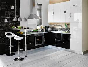 Cuisine amenagee noir et blanc for Idee deco cuisine avec modelle cuisine