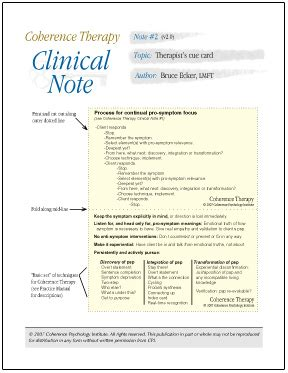 therapy notes coherence therapy clinical notes