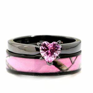 black plated pink heart cz camo wedding rings bridal With black and pink wedding ring sets