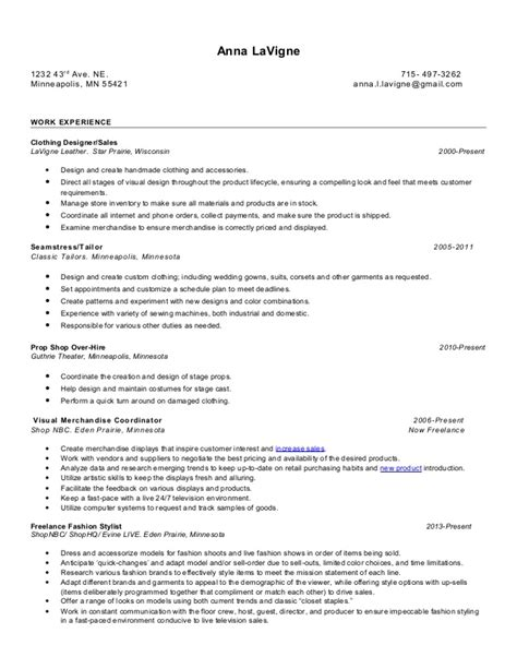 Seamstress Experience Resume by Resume Of Lavigne