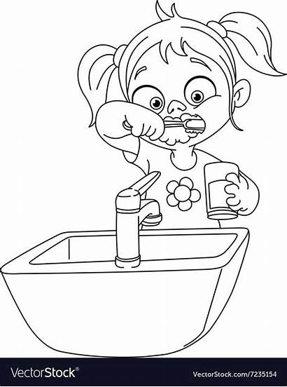 Teeth Brushing Coloring Outlined Vectorstock Printable Zoes