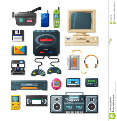 Flat Retro Gadgets Of 90s Stock Vector Illustration Of
