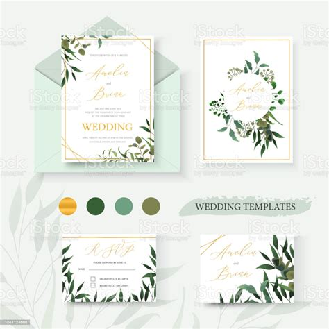 Wedding Floral Gold Invitation Card Envelope Save The Date