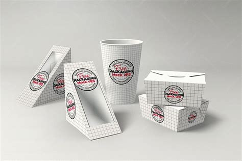 Ready to use in your projects, app and showcases. FREE Fast Food DELI Set PSD Mock Up Template   Download