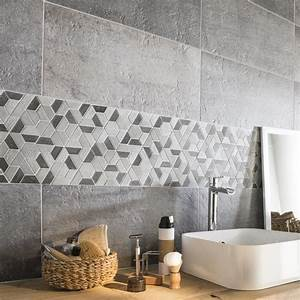 mosaique sol et mur graphik hexa noir leroy merlin With carrelage adhesif salle de bain avec led visage a domicile