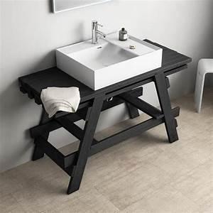 Meuble Vasque Bois Salle De Bain : meuble salle de bain noir bois et vasque 120 cm chlo ~ Teatrodelosmanantiales.com Idées de Décoration