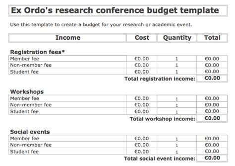 conference budget template  tips  ordo