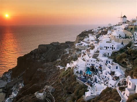 Greece Santorini Sunset Picturesandwallpapers Building
