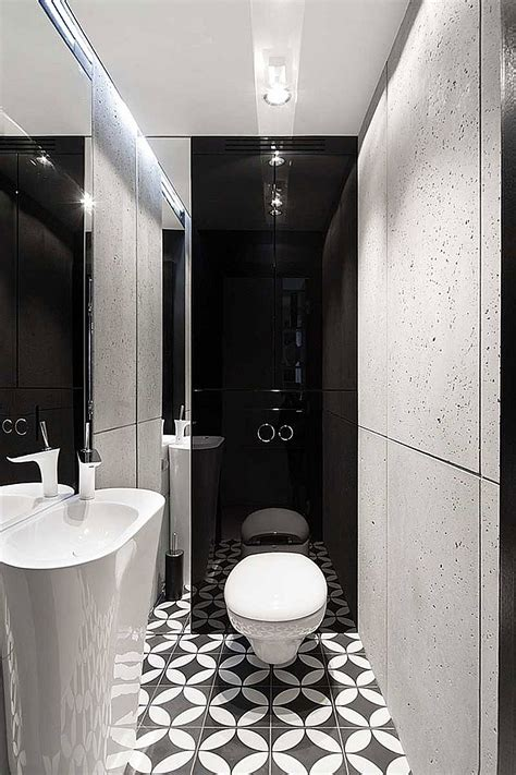 White And Black Tiles For Bathroom by Geometric Floor Tiles For Small Black And White Bathroom Ideas