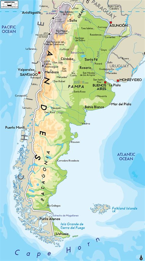 large detailed physical map  argentina  cities