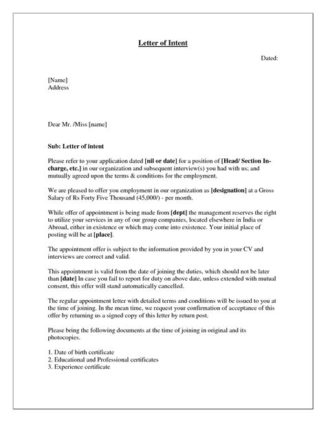 sle letter of intent for a board position complaint