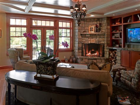 family room   corner fireplace carry  masonry