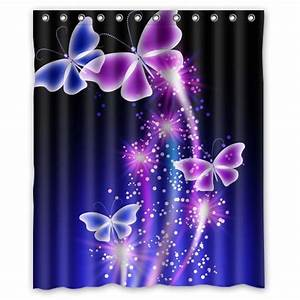 pink purple butterfly shining under blue sky waterproof With purple butterfly curtains
