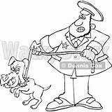 Catcher Dog Cartoon Lineart Leash Pooch Djart Wackystock sketch template