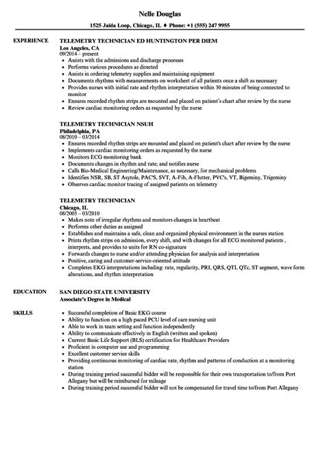 telemetry technician resume sles velvet