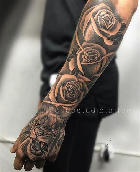 tiger roses men forearm tattoo tattoos  men forearm