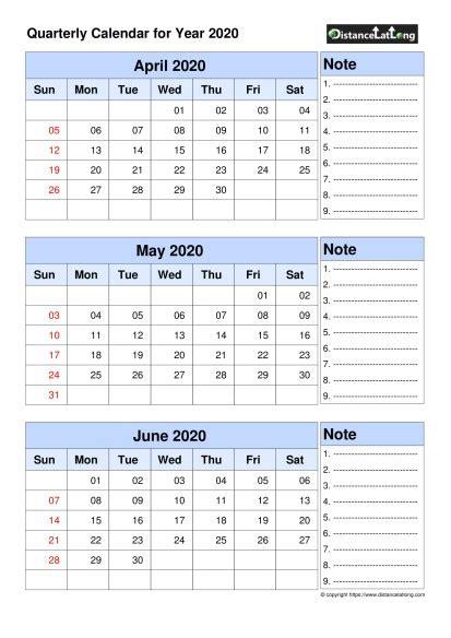 quarterly calendar april  june portrait