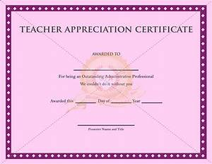 Printable Teacher Appreciation Certificate - Certificate ...