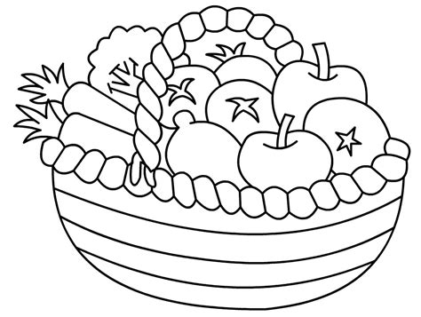 fruits vegetables clipart coloring page pencil