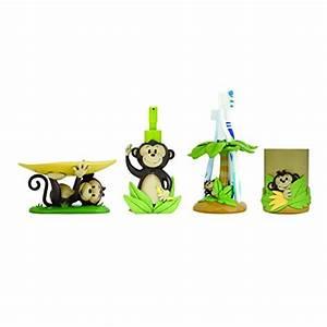 Modona four piece kids bathroom accessories set monkey for Monkey bathroom set