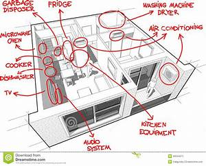 Apartment Diagram With Hand Drawn Notes Stock Image