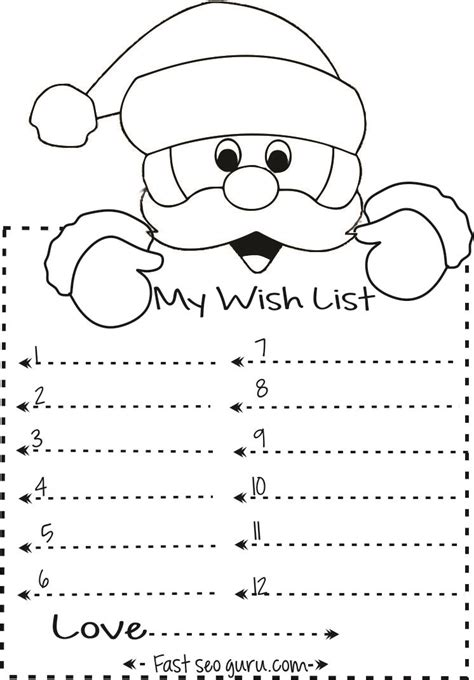 Christmas Template Craft by Print Out Christmas Wish List To Santa Write Template