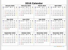 2016 Calendar WikiDatesorg