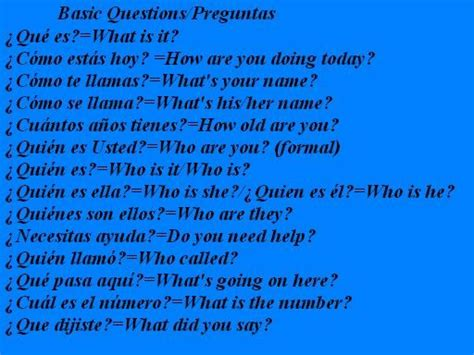Basic Questions And Answers In Spanish.