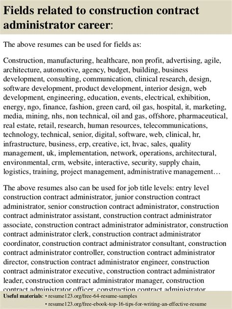 Construction Contracts Administrator Resume by Top 8 Construction Contract Administrator Resume Sles
