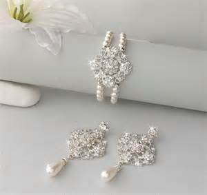 vintage wedding earrings wedding jewelry set vintage style bridal set wedding earring bracelet set brooch bracelet