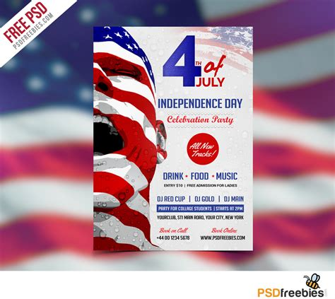 usa independence day flyer template  psd  psd