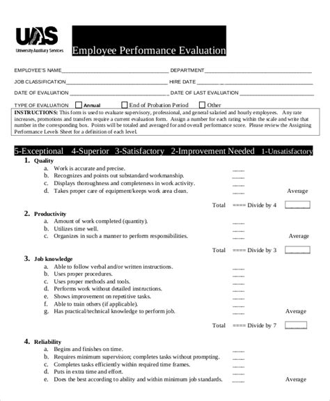 sample employee evaluations sample performance evaluation 7 documents in pdf word