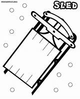 Sled Coloring Pages Snow Print Colorings sketch template