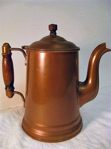 rochester copper large coffee pot lined sold  ruby lane