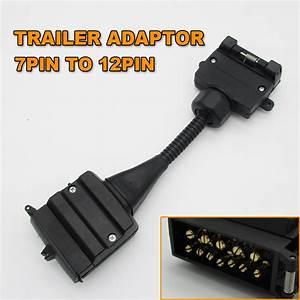 1pc 7 Pin Flat Socket To 12 Pin Plug Trailer Wiring Adaptor Caravan Connector